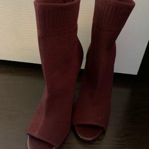 Maroon sock heels